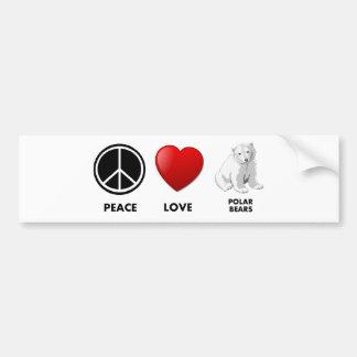 peace love polar bears Save the bears Car Bumper Sticker
