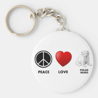 peace love polar bears Save the bears Keychain