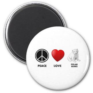 peace love polar bears Save the bears Magnet