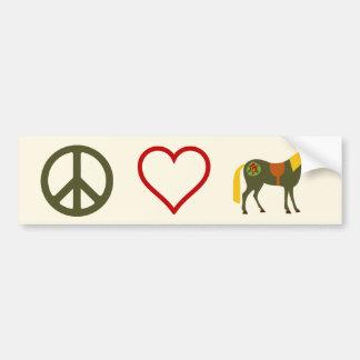 Peace Love Ponies Horse Bumper Sticker