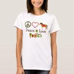 Peace Love Ponies Retro Horse T-Shirt
