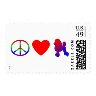 Peace Love Poodles Postage Stamps