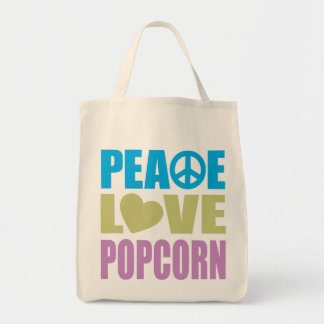 Peace Love Popcorn Grocery Tote Bag