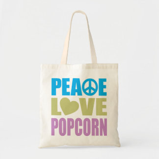 Peace Love Popcorn Budget Tote Bag