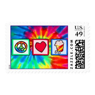 Peace, Love, Popcorn Stamp