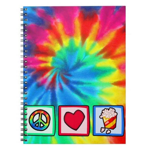 Peace, Love, Popcorn Spiral Notebooks