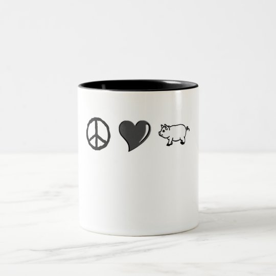Peace Love Pork Two-Tone Coffee Mug