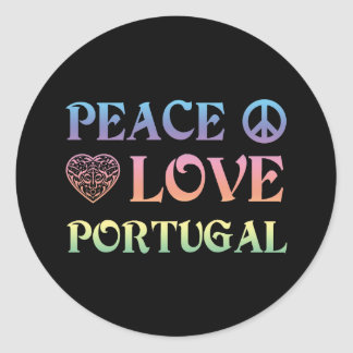 Peace Love Portugal Classic Round Sticker