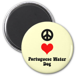 Peace love Portuguese Water Dog 2 Inch Round Magnet