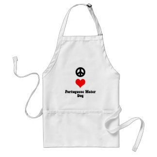 Peace love Portuguese Water Dog Adult Apron