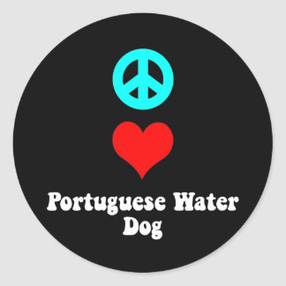 Peace love Portuguese Water Dog Classic Round Sticker