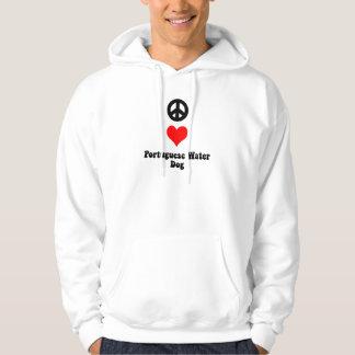 Peace love Portuguese Water Dog Hoodie