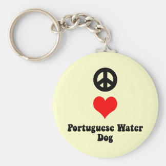 Peace love Portuguese Water Dog Keychain