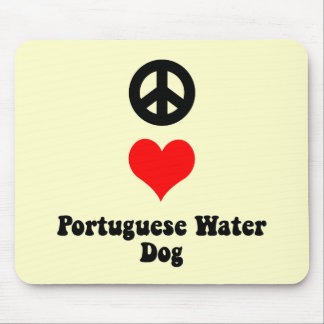 Peace love Portuguese Water Dog Mouse Pad