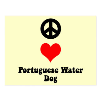 Peace love Portuguese Water Dog Postcard