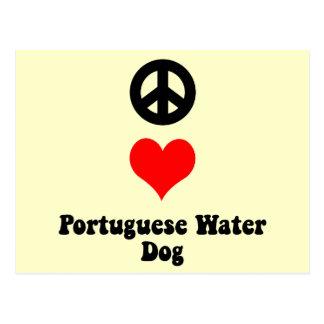 Peace love Portuguese Water Dog Postcard