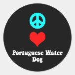 Peace love Portuguese Water Dog Classic Round Sticker