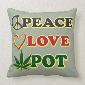 Peace Love Pot Throw Pillow