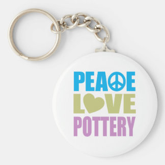 Peace Love Pottery Basic Round Button Keychain