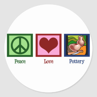 Peace Love Pottery Classic Round Sticker