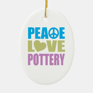 Peace Love Pottery Double-Sided Oval Ceramic Christmas Ornament