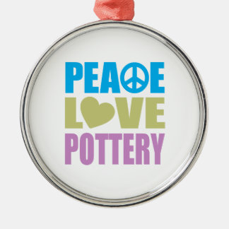 Peace Love Pottery Round Metal Christmas Ornament