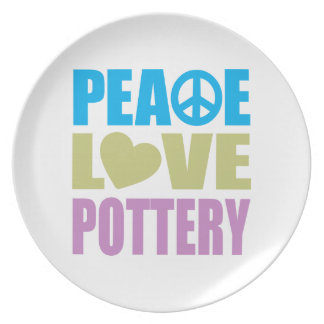 Peace Love Pottery Party Plates