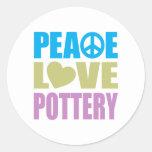 Peace Love Pottery Round Sticker