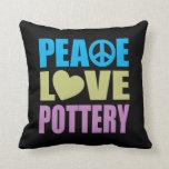 Peace Love Pottery Throw Pillows