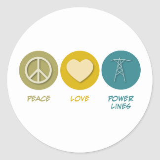 Peace Love Power Lines Stickers