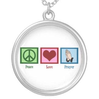 Peace Love Prayer Round Pendant Necklace