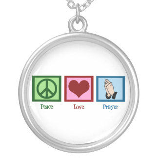 Peace Love Prayer Silver Plated Necklace
