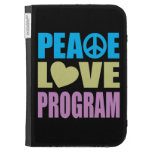 Peace Love Program Kindle Folio Cases
