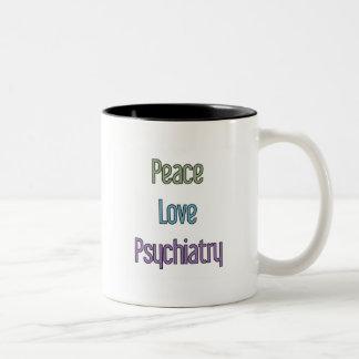 Peace, Love, Psychiatry Two-Tone Coffee Mug