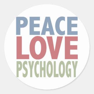Peace Love Psychology Classic Round Sticker