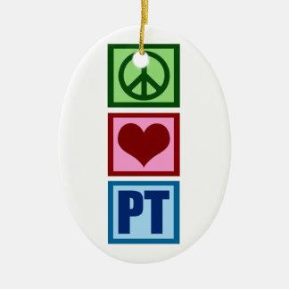 Peace Love PT Ceramic Ornament