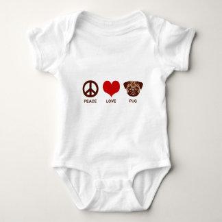 Peace Love Pug Baby Bodysuit