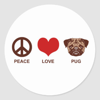 Peace Love Pug Classic Round Sticker