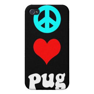 peace love pug iPhone 4 cases