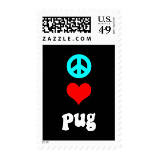 Peace love Pug Postage Stamps
