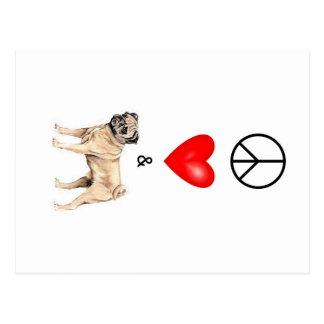 Peace, Love & Pug Postcard