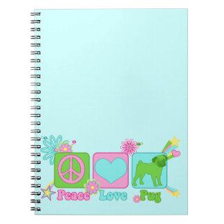 Peace - Love - Pug Spiral Notebook