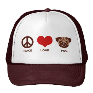 Peace Love Pug Trucker Hat