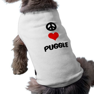 Peace love Puggle Doggie Tee Shirt