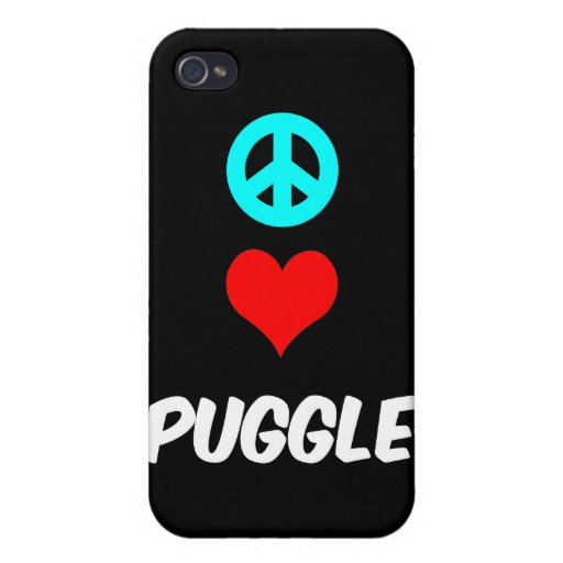 peace love puggle cases for iPhone 4
