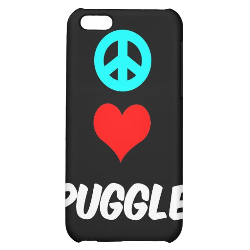 peace love puggle cover for iPhone 5C