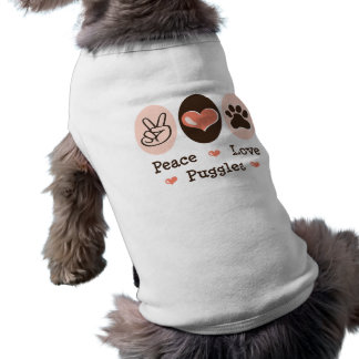 Peace Love Puggles Dog T-shirt