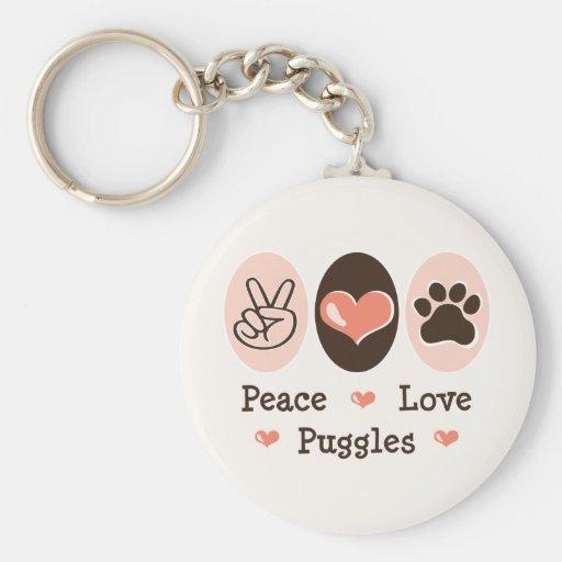 Peace Love Puggles Keychain
