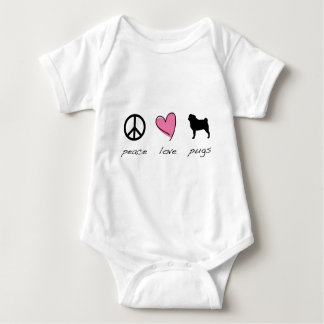 Peace + Love + Pugs Baby Bodysuit