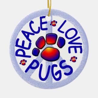"""Peace Love Pugs"" Ceramic Ornament"